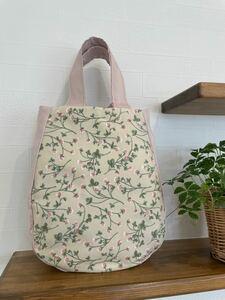 【ハンドメイド】トートバック 小花柄 シロツメクサ パステルピンク