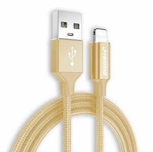 iPhone ライトニングケーブル 急速充電 データ転送 耐久 ゴールド