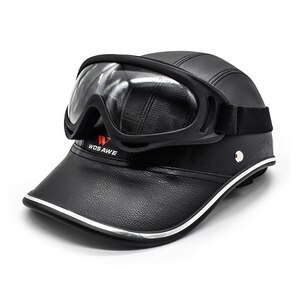 新品 ヘルメット キャップ ハーフフェイス 抗UV ハード PUレザー 安全 帽子 ML315-BYJ-011 バイク 保護 アクセサリー