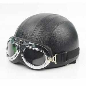 新品 ハーフ ヘルメット オープンフェイス 電動 カスク ゴーグル バイザー ツーリング ヴィンテージ 黒 バイク 保護 アクセサリー