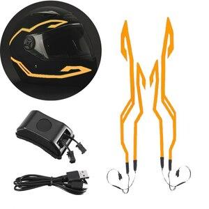 新品 4in1 アップグレード ヘルメット 夜冷光 汎用 信号 点滅 ストリップ LED 発光 ステッカー USB オレンジ バイク 保護 アクセサリー
