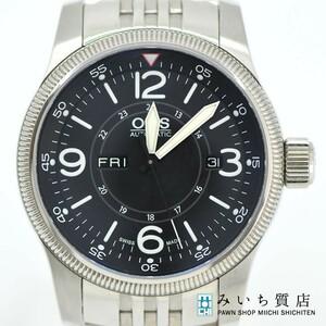 質屋 腕時計 ORIS オリス ビッグクラウン 7660-40 デイデイト 自動巻き 黒文字盤 メンズ みいち質店