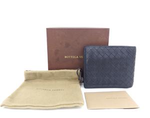 BOTTEGA VENETA ボッテガヴェネタ イントレチャート 二つ折り財布 113112 ネイビー メンズ コンパクトウォレット