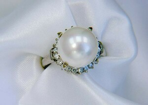 11mm shell pearl ring of South Ocean type white