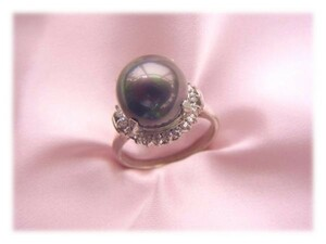 Value reduction 【Free Shipping】 Nan Western type (black) 11mm shell pearl ring No. 11