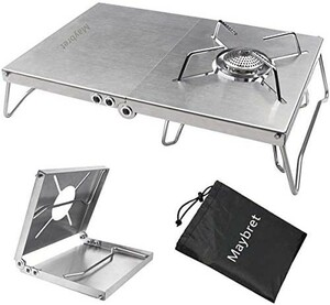 【簡単組立コンパクト!】遮熱テーブル ステンレス製 シングルバーナー テーブル