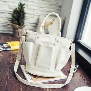 レディーストートバッグ 2WAY 多ポケットキャンバストートバッグ コンパクト 実用性◎ 帆布ショルダーバッグ 大容量 ホワイト