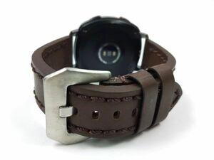 ミリタリー腕時計ベルト ウォッチバンド 本革レザー バネ棒付属 20mm ダークブラウン