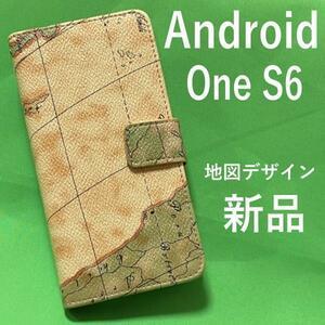 Android One S6 地図柄 アンドロイドワンS6 手帳ケース 携帯ケース スマホカバー スマホケース 手帳型 便利なストラップホール付き