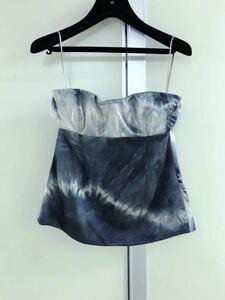 【STELLA McCARTNEY】ステラマッカートニー black~greyタイダイ柄 silk チューブ ベア コルセット ビスチェ 38 シルク100% ブラ トップ