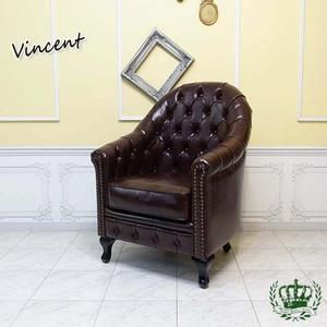ヴィンセントソファ 英国伝統 チェスターフィールド ハイバックモデル 一人掛け 茶 ブラウン PUレザー シングルソファ VA1P38K