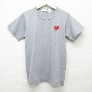 良品 PLAY COMME des GARCONS コムデギャルソン ハート ワンポイント ワッペン Tシャツ グレー M