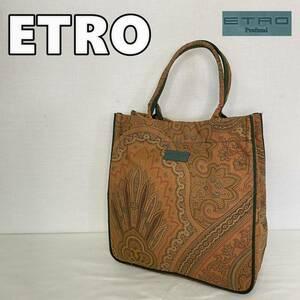 【ETRO】エトロ ペイズリー 総柄 ミニトートバッグ ハンドバッグ ロゴ