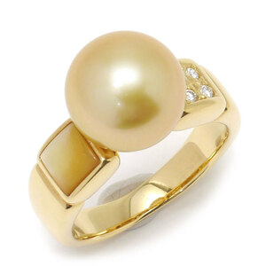 Supplement price · Free Shipping 【Used / Barber】 Pearl Diamond Ring # 12 about 12th K18YG · Pearl Diameter 10mm · Shell Diamond 0.05CT Ring Pearl