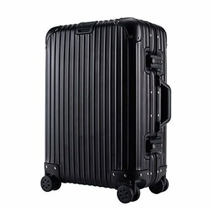 スーツケース 鏡面仕上げ M ブラック TSAロック搭載 機内持込み可能 キャリーケース アルミフレーム ベルトフック付き 旅行 軽量 8輪