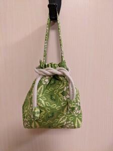 ハンドメイド ミニミニ巾着バッグ ミニ手提げバッグ ポーチ バッグインバッグ あめちゃんバッグ