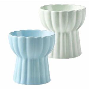 猫 食器 猫皿 陶器 2個 セット 水 食べやすい 浅広口 フードボウル ペット ネコ ねこ ブルー グリーン
