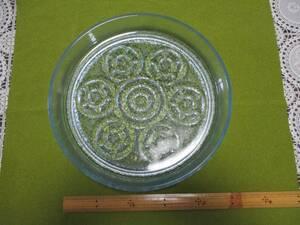 ガラス 大皿 盛皿 フルーツ皿 昭和レトロ 約27センチ すりガラス 水色