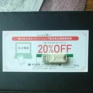 梅の花 株主優待 オンラインショップ限定 株主優待券 20%OFF 1枚  有効期限:2022年1月31日まで