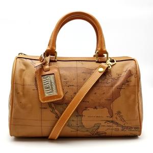 送料無料 美品 プリマクラッセ ミニボストンバッグ 旅行カバン ハンドバッグ ショルダーバッグ 鞄 2WAY PVC 地図柄 ブラウン系 レディース