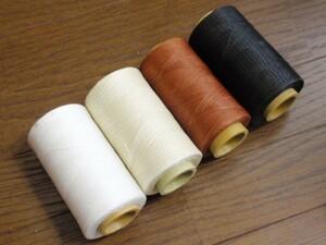 蝋引き糸 ホワイト オフホワイト 茶 黒 4色 セットレザークラフト