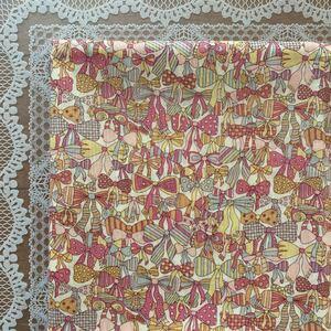 リバティ ジェニーズリボンズ オレンジピンク系 生地幅×約50cm タナローン