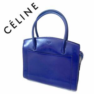【送料無料】celine セリーヌ トートバッグ ハンドバッグ ブルー 青 レディース カバン レッド 赤 ロゴ刻印 レザー