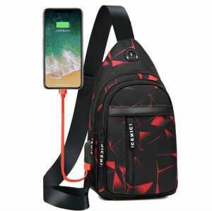 レッド 赤 迷彩 ボディバッグ ショルダーバッグ 斜めがけ メンズボディバッグ USBポート おしゃれ
