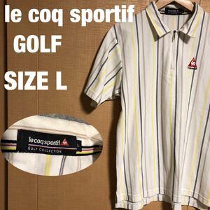 le coq sportif GOLF ルコック スポルティフ ゴルフ ハーフジップ ロゴ 半袖 ポロシャツ ストライプ メンズ SIZE L