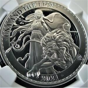 希少 最高鑑定 74枚 ファーストリリース 2021 イギリス領 セントヘレナ ウナとライオン 1オンス 1ポンド 銀貨 コイン NGC PF70UC 元箱証明