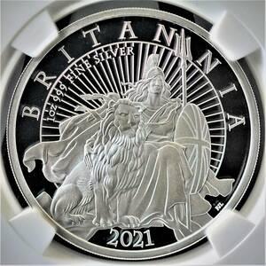 最高鑑定 ロイヤルミント発行 25周年記念 2021年 イギリス ブリタニアとライオン 1オンス 2ポンド 銀貨 コイン NGC PF70UC 元箱・証明書付