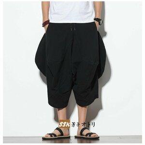 широкий  брюки   Saruerupantsu   Мужской   Aladdin брюки   Ничего  земля   Запад Резина   ...   Обрезанные брюки   свободно  731091/ черный ;5XL