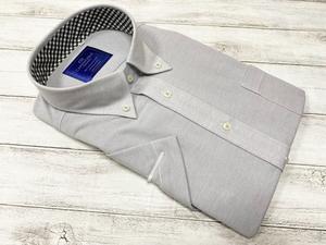 CARPENTARIA/半袖/ドレスシャツ/ワイシャツ/LLサイズ/形態安定/ボタンダウン/グレー/襟裏ギンガムチェック柄/アイロンがけ不要/603
