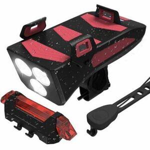自転車ライト LED USB充電式 4000mAh大容量 4in1機能搭載 バイクライトセット IPX5防水 スタンド 高輝度 モバイルバッテリー機能付 緊急灯