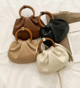レディース バッグ ハンドバッグ ショルダー 2way 木 おしゃれ シンプル 韓国ファッション