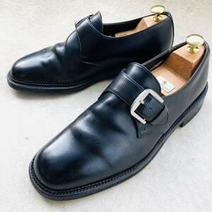 ★即決★ REGAL リーガル 革靴 ビジネスシューズ シングルモンク 25.5㎝ BK 黒 ブラック 型押し 本革 プレーントゥ メンズ