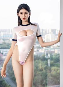 ☆送料込み☆JG-6 コスプレ ホワイト&ネイビー ハイフォークワンピース オープンチェストサイドホロー ボディスーツ 大胆 プレイスーツ