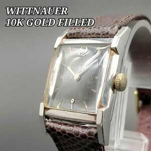 1940's★WITTNAUERウィットナー★アンティーク メンズ 腕時計 手巻き 10金張り ロンジン スモセコ 黒文字盤 専用BOX 希少 レザーバンド