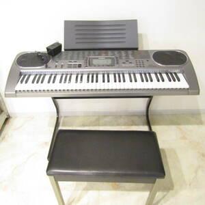 N3652 カシオ 電子キーボード ピアノ LK-80 光ナビゲーション 台 椅子付き セット 鍵盤楽器 音楽 趣味 家電 CASIO 中古 福井 リサイクル