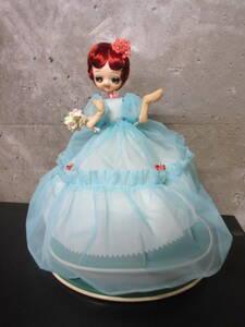 昭和レトロ フランス人形 水色 USED