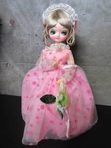 昭和レトロ オルゴール付きフランス人形 ピンク USED