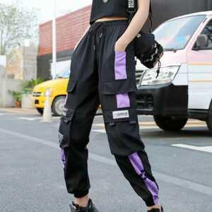 カーゴパンツ ジョガーパンツ ラインパンツ ボトムス メンズ レディース M L 黒紫 オルチャン 原宿 韓国 ストリート