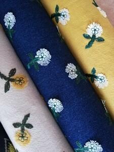 ハギレ 刺繍小花柄 5色