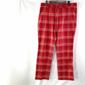 le coq sportif GOLF Collection ルコック チェックパンツ ゴルフ デサント製 ウェア 赤 レッド 大きいサイズ