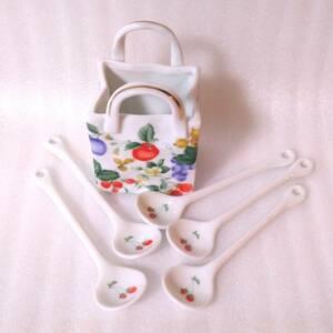セラミック 陶器製のスプーンセット 専用スプーン立て付き チェリー・サクランボの絵柄