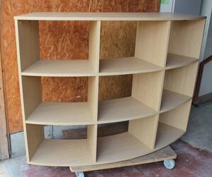 税込! 本棚 W:150 H:110 R面タイプ 3段 9ポケット 木製