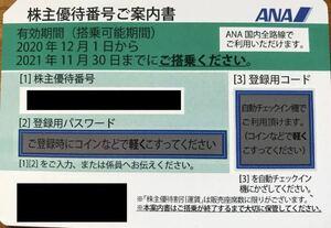 送料無料 ANA 全日空 株主割引券 株主優待券 1枚 24時間以内番号通知可能