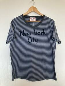 ★未使用 Left Field レフトフィールド ボーダー柄 vネック 半袖Tシャツ L USA製 New York City ニューヨークシティー