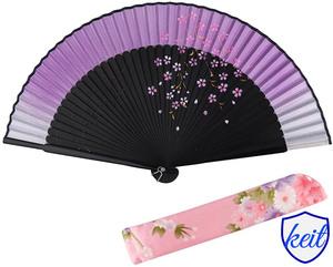 扇子 男女兼用 短地扇子 黒竹 メンズ レディース 和服 和装小物 紫 桜