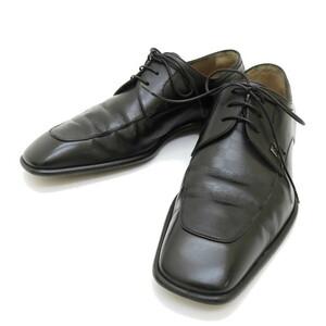 LOUIS VUITTON/ルイ・ヴィトン ダミエ 型押し レースアップ ドレスシューズ 革靴 スクエアトゥ ビジネスシューズ ブラック メンズ